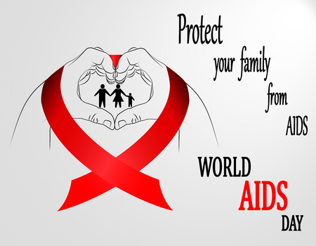 World Aids Day. Healthcare and medicine concept. Man hands with red ribbon forming a heart, protection family from AIDS. Vector illustration.