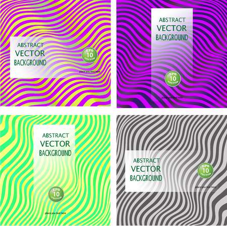 Collection backgrounds abstract wavy lines, waves. Colorful vector illustration. Illustration