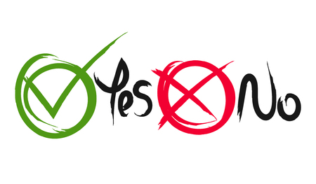 Brush painted tick and cross signs. Circle symbols green checkmark Yes and red No icons isolated on white background. Vector illustration for vote, decision, web.