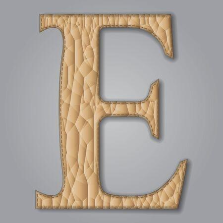 Letter E of textured leather. Decorative alphabet on gray background Vector illustration Illustration