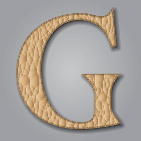 Letter G of textured leather. Decorative alphabet on gray background Vector illustration