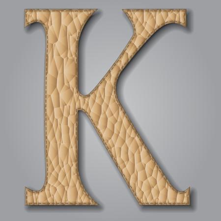 Letter K of textured leather. Decorative alphabet on gray background Vector illustration Illustration