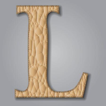 Letter L of textured leather. Decorative alphabet on gray background Vector illustration Illustration