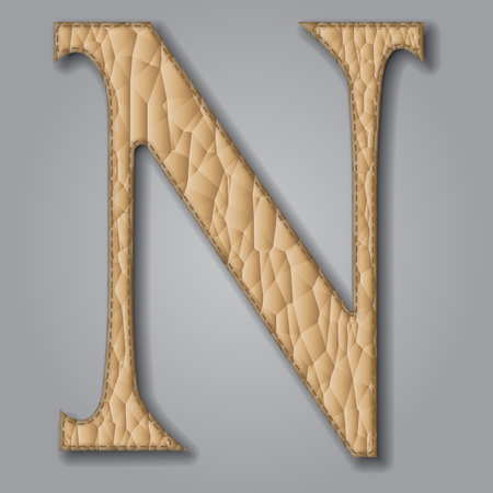 Letter N of textured leather. Decorative alphabet on gray background. Vector illustration