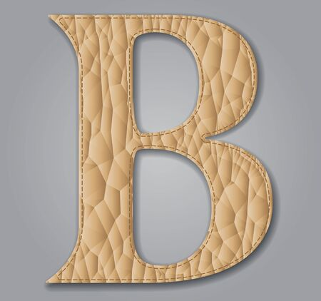 Leather textured letter B. Vector illustration