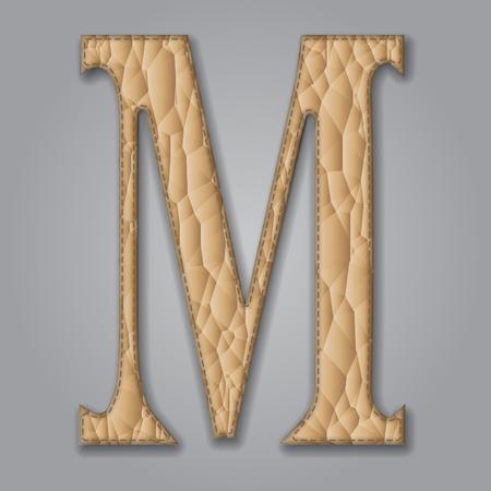 Letter M of textured leather. Decorative alphabet on gray background. Vector illustration Illustration