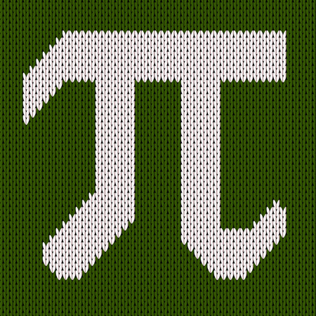 Pi symbol isolated on green kniteed background. Greek alphabet icon. World happy pi day Çizim
