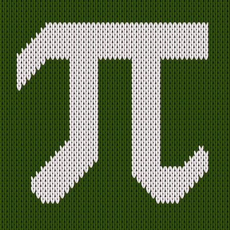 Pi symbol isolated on green kniteed background. Greek alphabet icon. World happy pi day Vettoriali