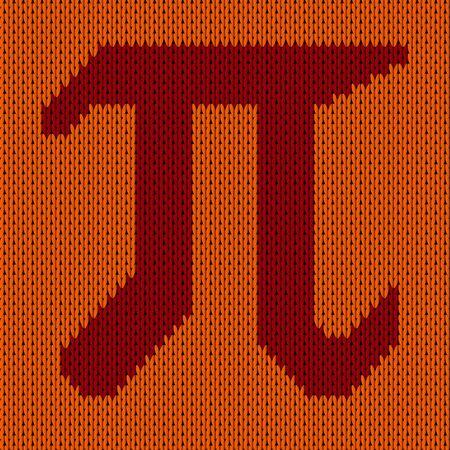 Pi symbol isolated on kniteed background. Greek alphabet icon. World pi day