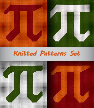 Set Pi symbols isolated on kniteed background. Greek alphabet element Vettoriali
