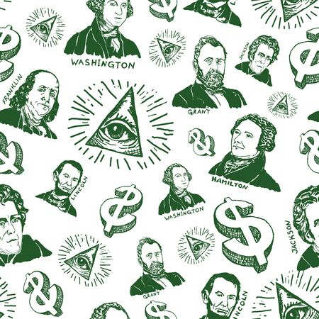Seamless pattern hand drawn with gravure of president`s portraits on white background. Vector illustration