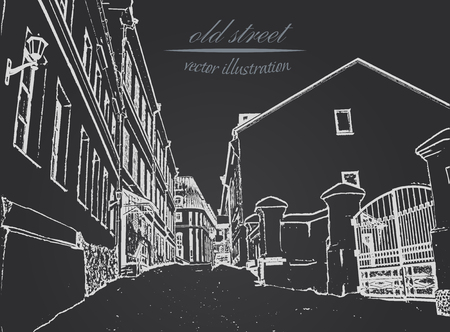 White silhouette narrow old street on black background. Hand drawn sketch. Vector illustration. EPS 10