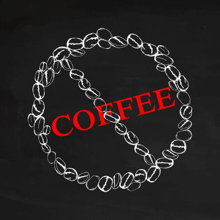 Coffee beans white chalk in the form of a circle of prohibition on black chalkboard. Prohibition sign of coffee. Cafe or restaurant menu decor. Hand drawn vector illustration.