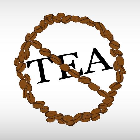 Thee is niet toegestaan. Verbodsteken van thee. Take away of take-out thee. Silhouet van hand getrokken koffiebonen in de vorm van een cirkel van verbod. Vector illustratie