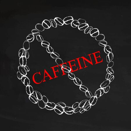 Caffeine is dangerous! Restriction sign from coffee beans isolated on black chalkboard background. White silhouette of coffee beans of chalk. No caffeine, caffeine stop, caffeine free. Stock Illustratie