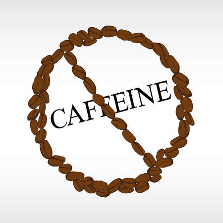 Gevaarsymbool van koffiebonen op witte achtergrond worden geïsoleerd die. Verminderingsteken voor cafeïne. Geschilderde koffiebonen, schets, vectortekening. decor voor café of restaurant menu. Vector Illustratie