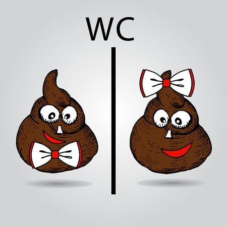 Creative WC icon. Female and male shit characters. Poop toilet and public restroom signs. Vector illustration
