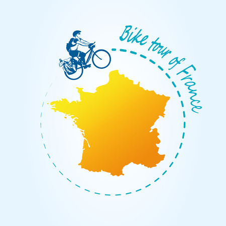 Man riding bicycle around France. Travel the world by bike. Map of France. Modern design for active rest the country. Vector illustration