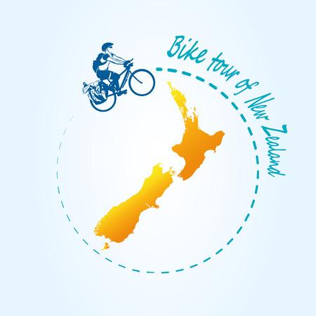 Man riding bicycle around New Zealand. Travel the world by bike. Map of New Zealand. Vector illustration. Ilustração