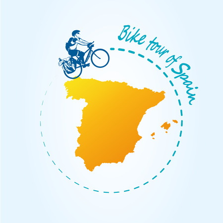 Man riding bicycle around of Spain. Travel the world by bike! Map of Spain. Panorama travel for postcard or poster, advertising or banner. Vector illustration