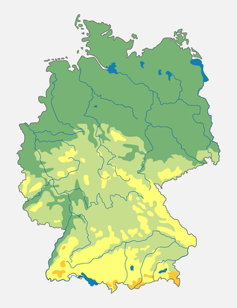 Map Of Germany Mountains.Vector Geographic Map Of The Germany Topographic Map With Contours