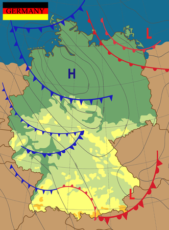 Weather map of the Germany. Meteorological forecast. Editable vector illustration of a generic weather map showing isobars and weather fronts.