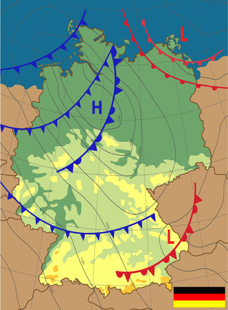 Weather map of the Germany. Topography map of the Germany. Meteorological forecast. Editable vector illustration of a generic weather map showing isobars and weather fronts.