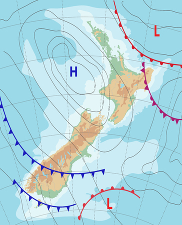 Weather map of the New Zealand.Meteorological forecast. Topography map. Editable vector illustration of a generic weather map showing isobars and weather fronts.