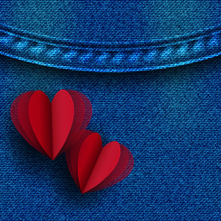 Greeting card with hearts on denim background. Ilustração