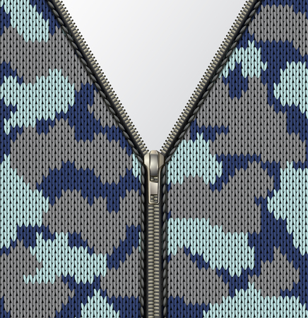 Military camouflage knitted texture with lock as a fabric texture in khaki hues. Open realistic metal fastener, zipper on clothes. Fastener and zipper isolated on knitted background. Blank banner space for your text invite. Vector illustration.