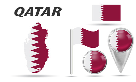 QATAR. Set flag, map pointer, button, waving flag, symbol, flat icon and map in the colors of the national flag. Vector illustration of collection of national symbols on various objects. Vector EPS Çizim