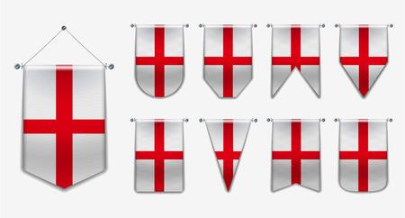 Ensemble de drapeaux suspendus de l'ANGLETERRE avec texture textile. Formes de diversité du pays du drapeau national. Fanion de modèle vertical pour l'arrière-plan, la bannière, le site Web, le logo, le prix, la réussite, le festival. EPS