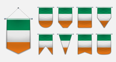 Set of hanging flags of the IRELAND with textile texture. Diversity shapes of the national flag of EC.Vertical Template pennant for background, banner, web, logo,award, achievement, festival, carnaval.
