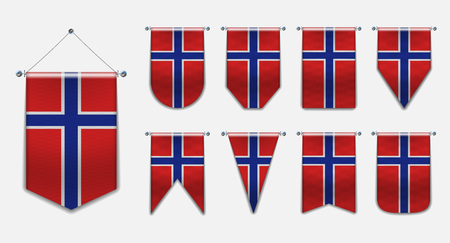 Set of hanging flags of the NORWAY with textile texture. Diversity shapes of the national flag country. Vertical Template Pennant for background, banner, web site, logo,award, achievement, festival Illustration