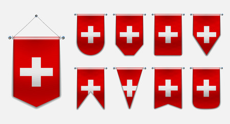 Set of hanging flags of the SWITZERLAND with textile texture. Diversity shapes of the national flag country. Vertical Template Pennant for background, banner, web, logo,award, achievement, festival