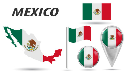 MEXICO. Flag, map pointer, button, waving flag, symbol, flat icon and map in the colors of the national flag. Vector illustration of collection of national symbols on various objects.