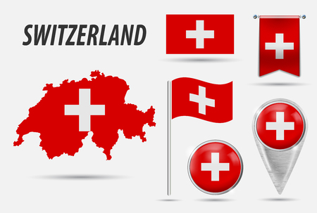 SWITZERLAND. Set flag, map pointer, button, waving flag, symbol, flat icon and map in the colors of the flag. Vector illustration of collection of national symbols on various objects. Vector EPS 10