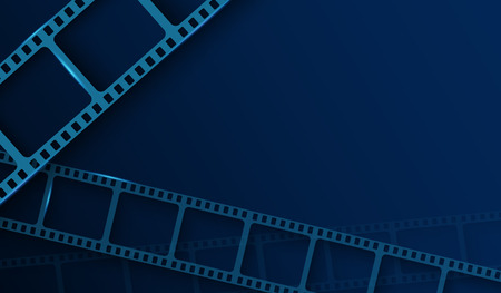 Background with film strip frame isolated on blue background. Design template cinema with space for your text. Movie and film modern poster background. Vector cinema banner, flyer, brochure, leaflet Ilustrace