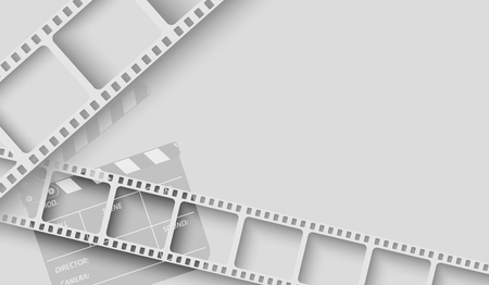 Abstract background with white film strip frame and clapper-board isolated on white background. Design template cinema with space for your text. Vector brochure, tickets,flyer, leaflet.3d style.EPS 10 Ilustração