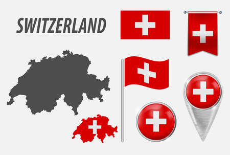 SWITZERLAND. Collection of symbols in colors national flag on various objects isolated on white background. Flag, pointer, button, waving and hanging flag, detailed outline map and country inside flag