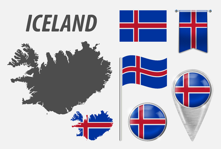 ICELAND. Collection of symbols in colors national flag on various objects isolated on white background. Flag, pointer, button, waving and hanging flag, detailed outline map and country inside flag