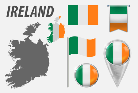 IRELAND. Collection of symbols in colors national flag on various objects isolated on white background. Flag, pointer, button, waving and hanging flag, detailed outline map and flag inside country