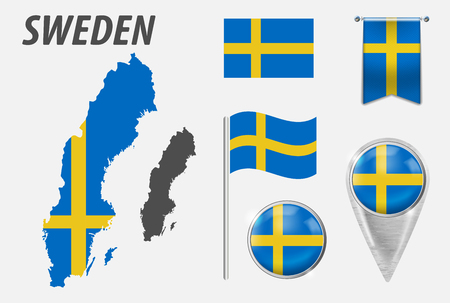 SWEDEN. Collection of symbols in colors national flag on various objects isolated on white background. Flag, pointer, button, waving and hanging flag, detailed outline map and flag inside country Illustration