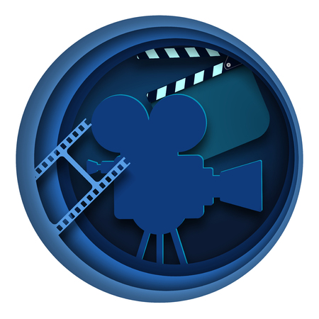 Paper cut cinema decorations with film strip frame and clapper-board isolated on blue background audience in circle. Minimal design for cinema festival poster or banner, flyer, card, brochure, cover Banque d'images - 125270665