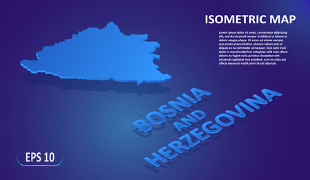 Isometric map of the BOSNIA and HERZEGOVINA. Stylized flat map of the country on blue background. Modern isometric 3d location map with place for text or description. 3D concept for infographic.