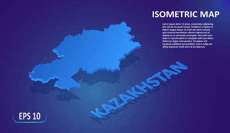 Isometric map of the KAZAKHSTAN. Stylized flat map of the country on blue background. Modern isometric 3d location map with place for text or description. 3D concept for infographic.