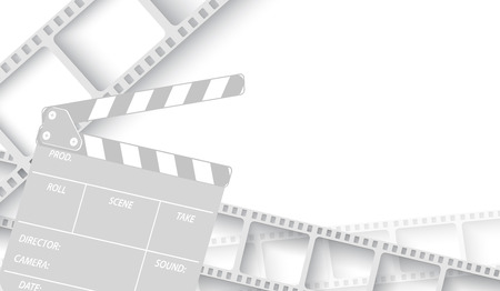 White blank with film strip frame and clapper-board isolated on white background. Design template cinema with space for your text. Vector cinema background , brochure, tickets, flyer, leaflet. EPS 10 Banque d'images - 125200207