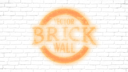 Realistic light white brick wall background. Distressed overlay texture of old brickwork, grunge abstract halftone pattern. Texture for template, layout, poster, fabric and different print production