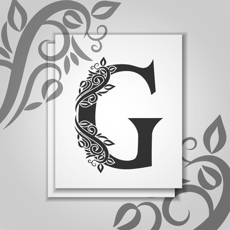 Premium letter G with Elegant floral contour for initials. Letter G isolated on modern card. Universal symbol template for design, business or wedding card, monogram, restaurant, cover.