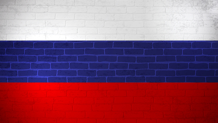 Russian Federation national flag painted on brick wall. Stone wall texture background. Old vintage minimalistic template for wallpaper, poster, banner. Background for design in country flag. EPS 10 Illustration